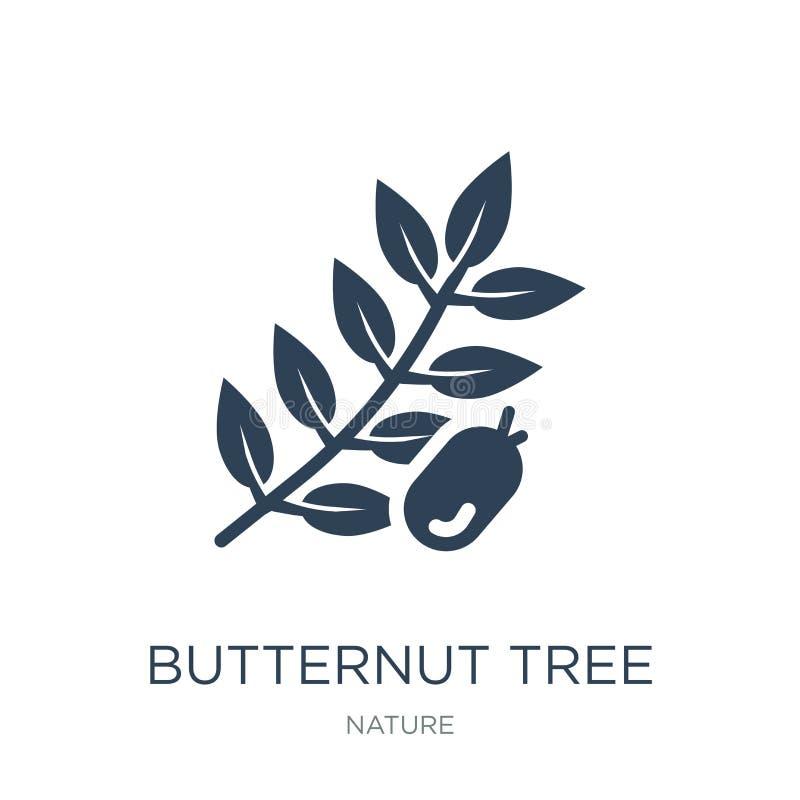 Butternutbaumikone in der modischen Entwurfsart Butternutbaumikone lokalisiert auf weißem Hintergrund Butternutbaum-Vektorikone e stock abbildung