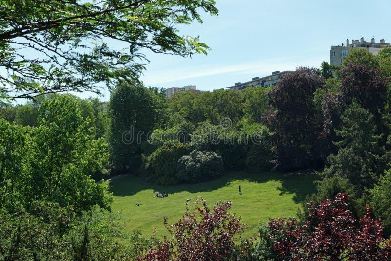 Buttes Chaumont park. In Paris city stock images