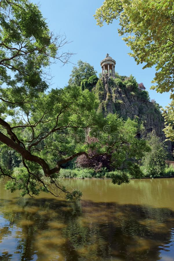 Buttes Chaumont park. In Paris city royalty free stock photo