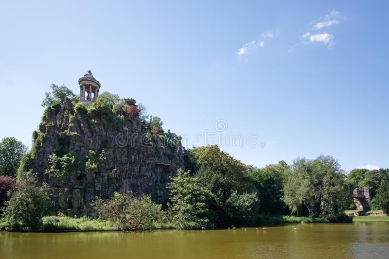 Buttes Chaumont park. In Paris city royalty free stock images