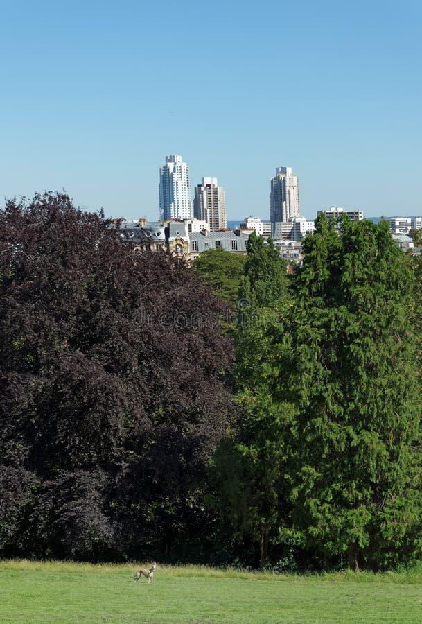 Buttes Chaumont park. In Paris city stock photos