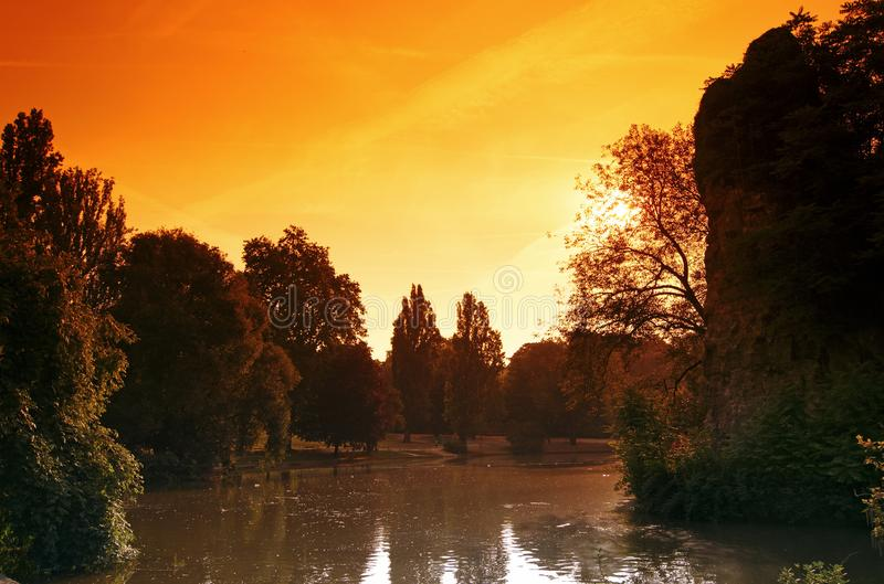 Buttes Chaumont park. In Paris city royalty free stock photography