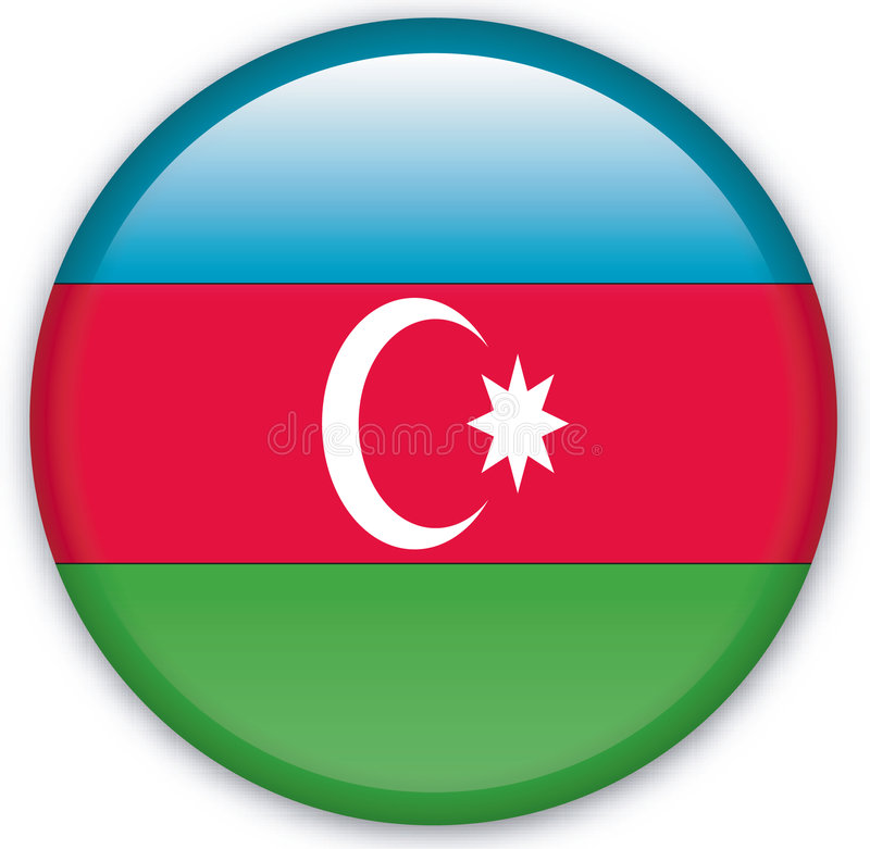 Button. With map from Azerbaijan - Vector royalty free illustration
