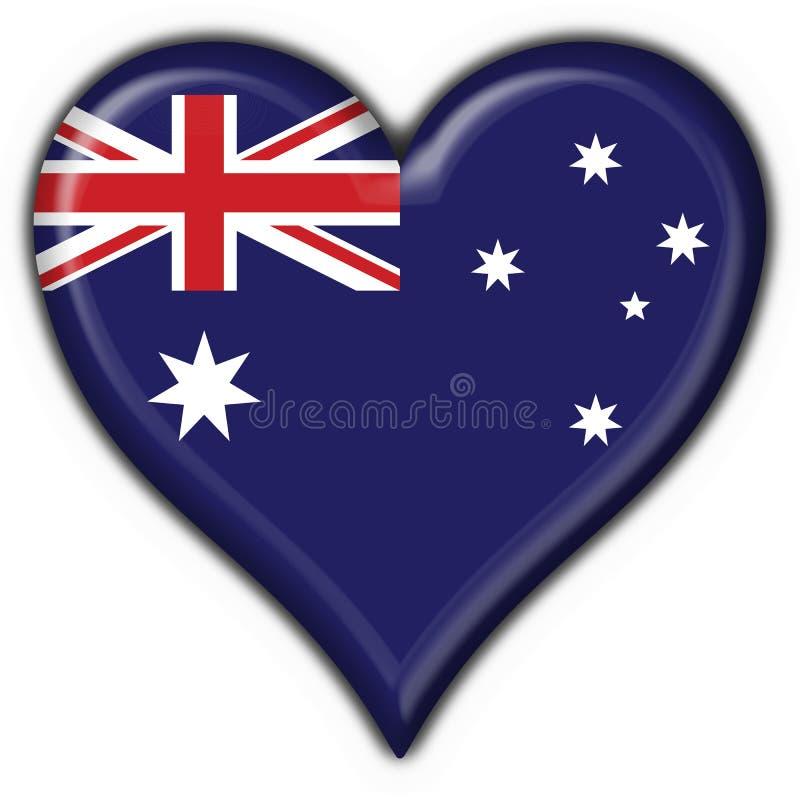 button australijskiego flagi serce ilustracja wektor