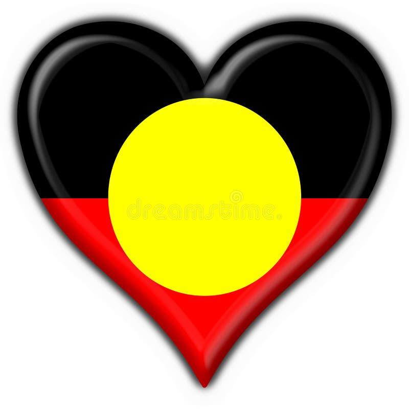 button australijskiej tubylczej flagi kształt serca ilustracji