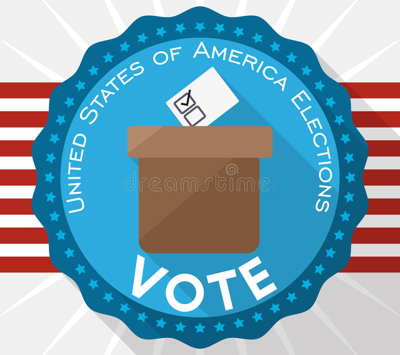 Button with Ballot Box Promoting the Vote in American Elections, Vector Illustration stock illustration