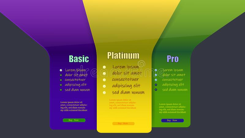 Button for buying on a site with three categories. In yellow green and blue shades. Select service quality. Vector illustration. A scheme for buying on a site royalty free illustration