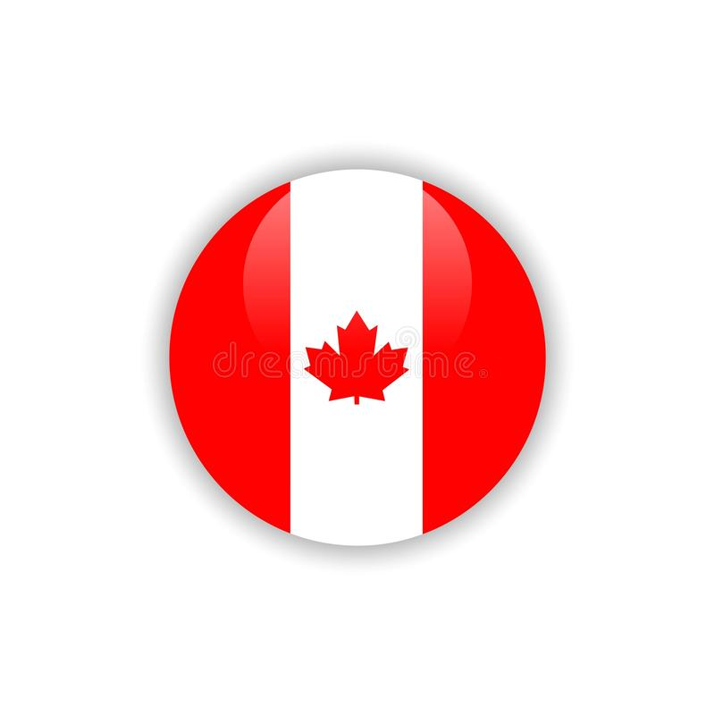 Button Canada Flag Vector Template Design royalty free illustration
