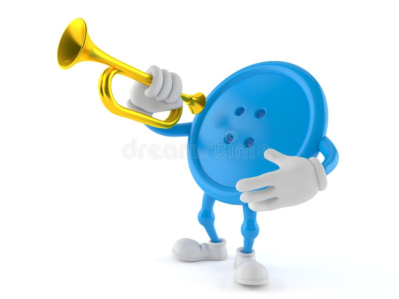 Button character playing the trumpet royalty free illustration