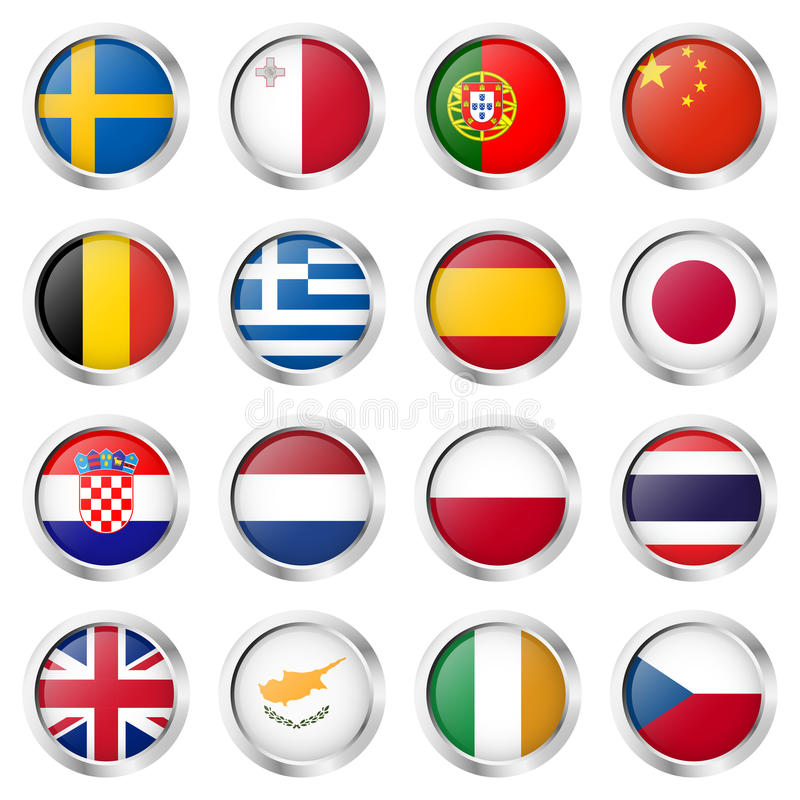 button collection with country flags stock illustration