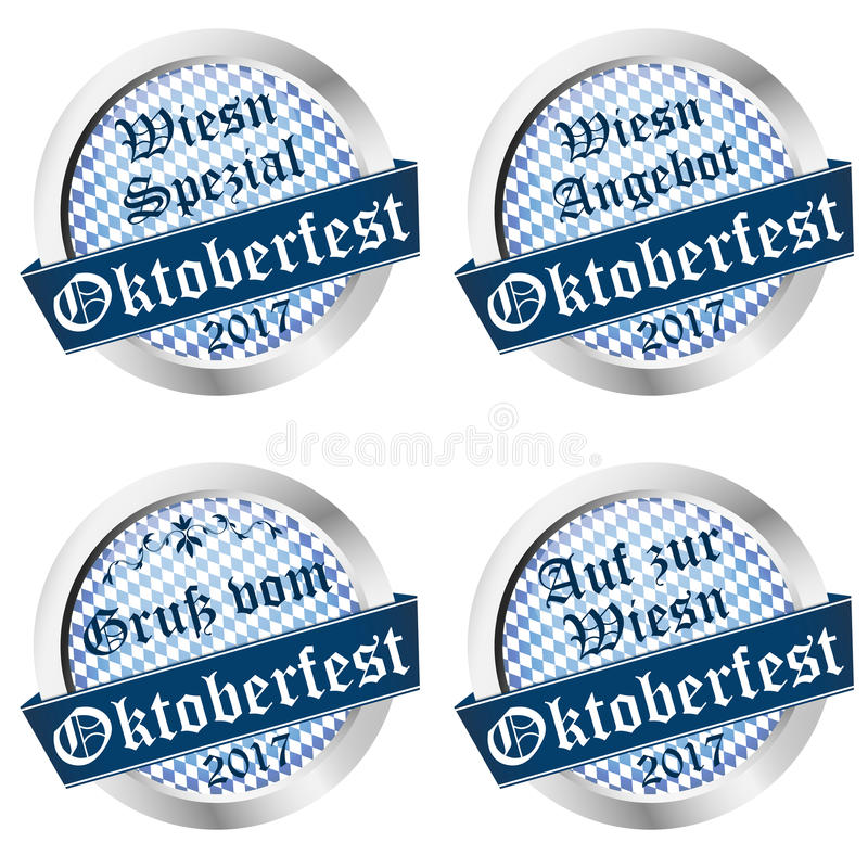 Button collection Oktoberfest 2017 vector illustration