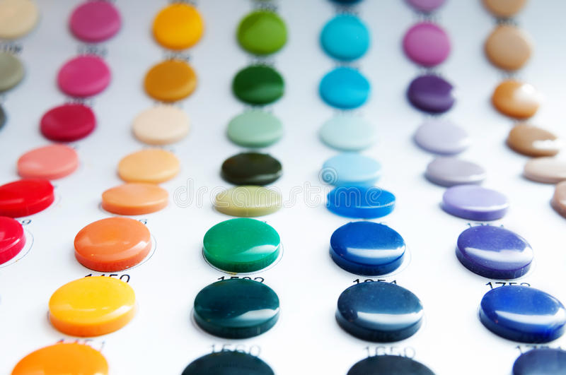 Button colors. Button samples with color codes stock photos