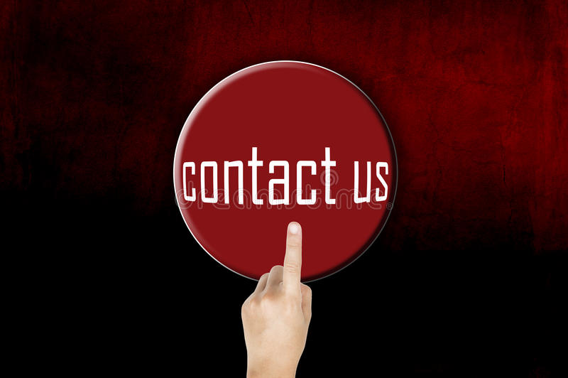 Button contact with finger pointing. Conceptual image royalty free stock image