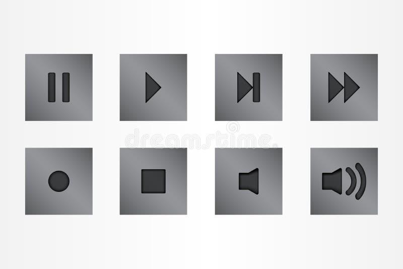 Button control media silver color set icons vector stock image
