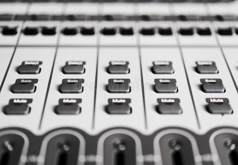 button controls detail on recording audio mixer stock image image