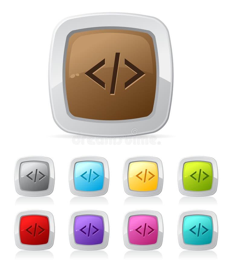 button den glansiga php-skriften för koden royaltyfri illustrationer
