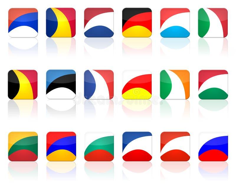 button den set fyrkanten för flaggan stock illustrationer