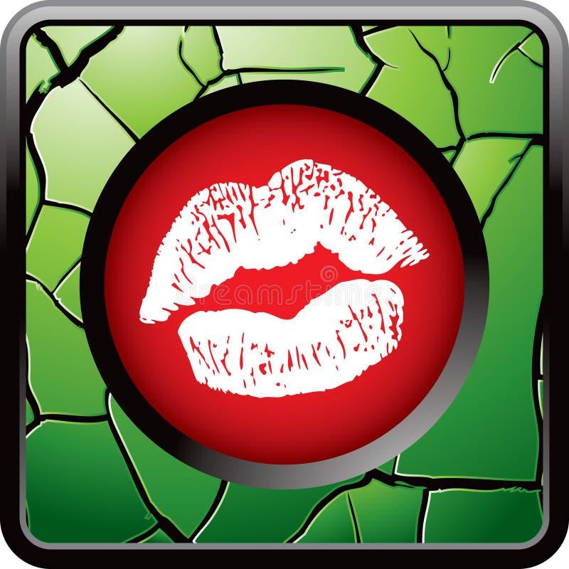 button den spruckna gröna kyssande kantrengöringsduken royaltyfri illustrationer