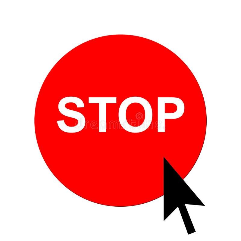 button det röda stoppet för markören stock illustrationer