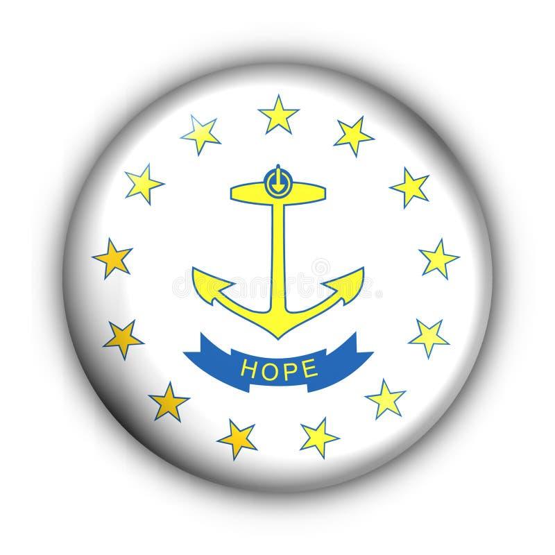button det runda tillståndet USA för flaggaörhode royaltyfri illustrationer