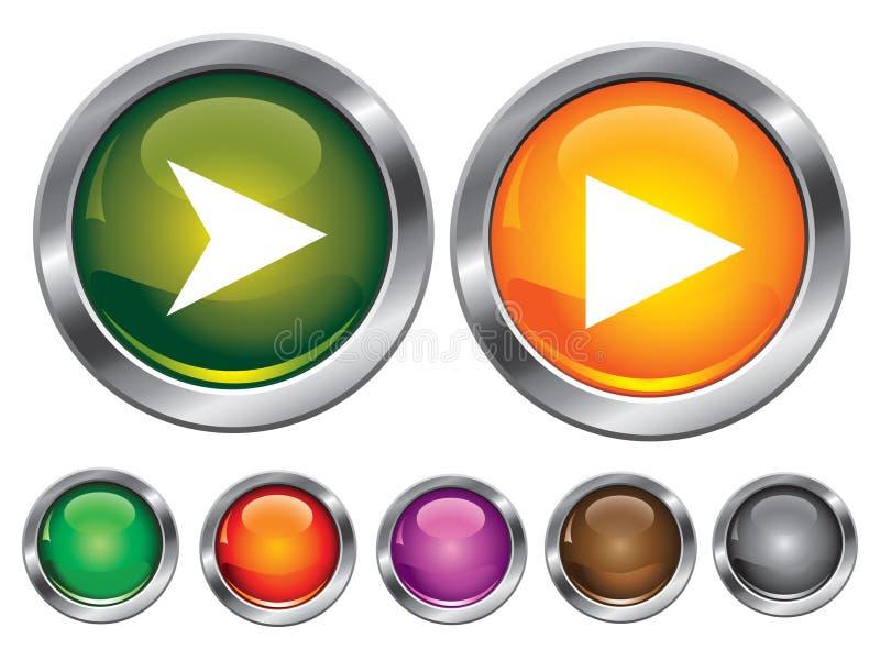 button det tomma symboler bland annat spelrumtecknet stock illustrationer