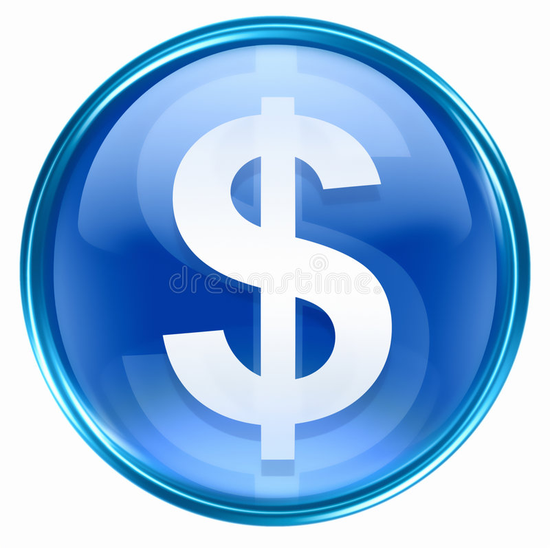 Free Button Dollar Icon Blue Royalty Free Stock Photography - 4660497