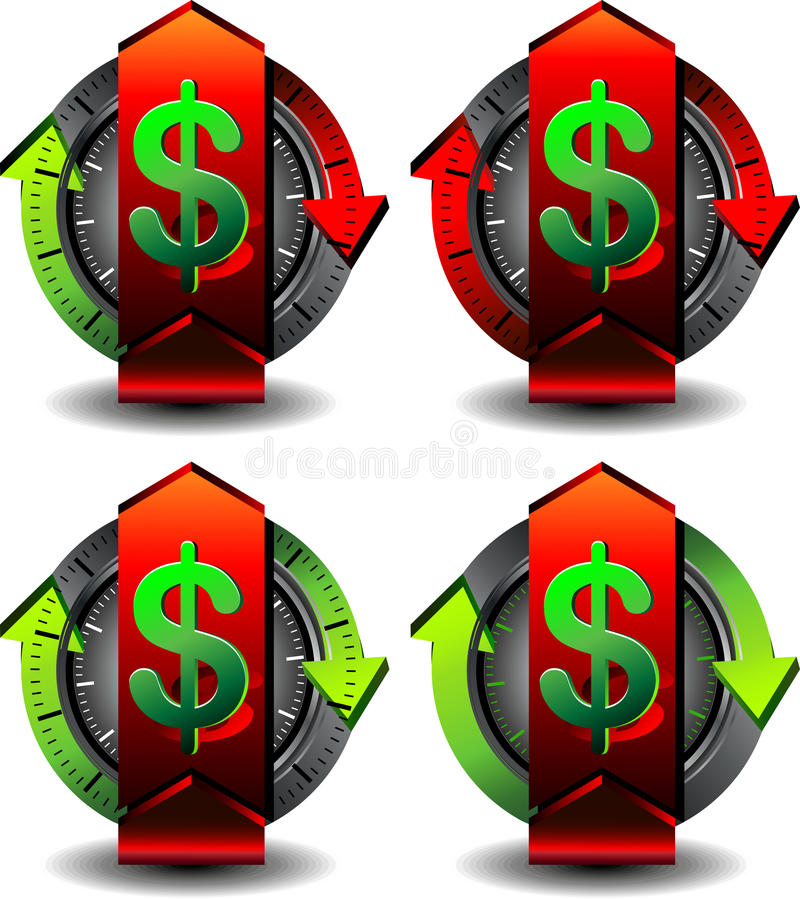 Button dollar. Button for Web pages, convert money