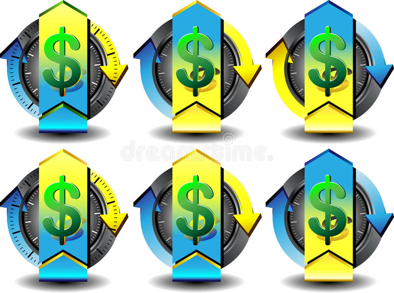 Button dollar. Button for Web pages, convert money royalty free illustration