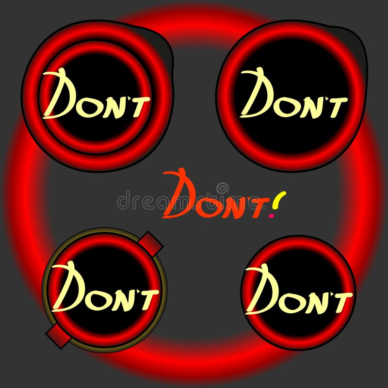 Button dont. Button. Red Key computer stop royalty free illustration