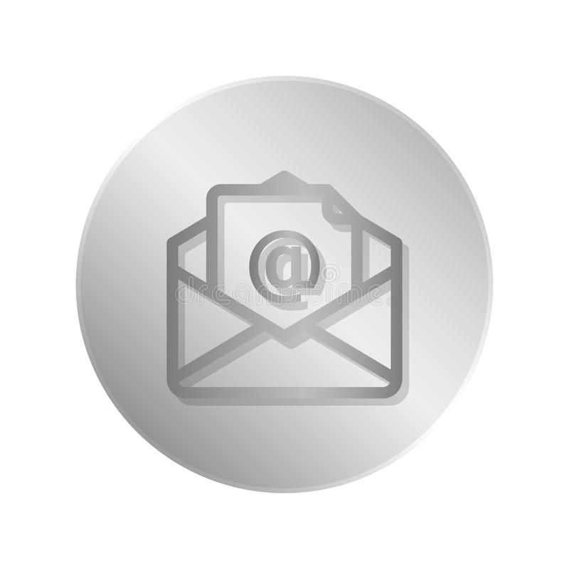 Button with envelope icon over white. Background. illustration vector illustration