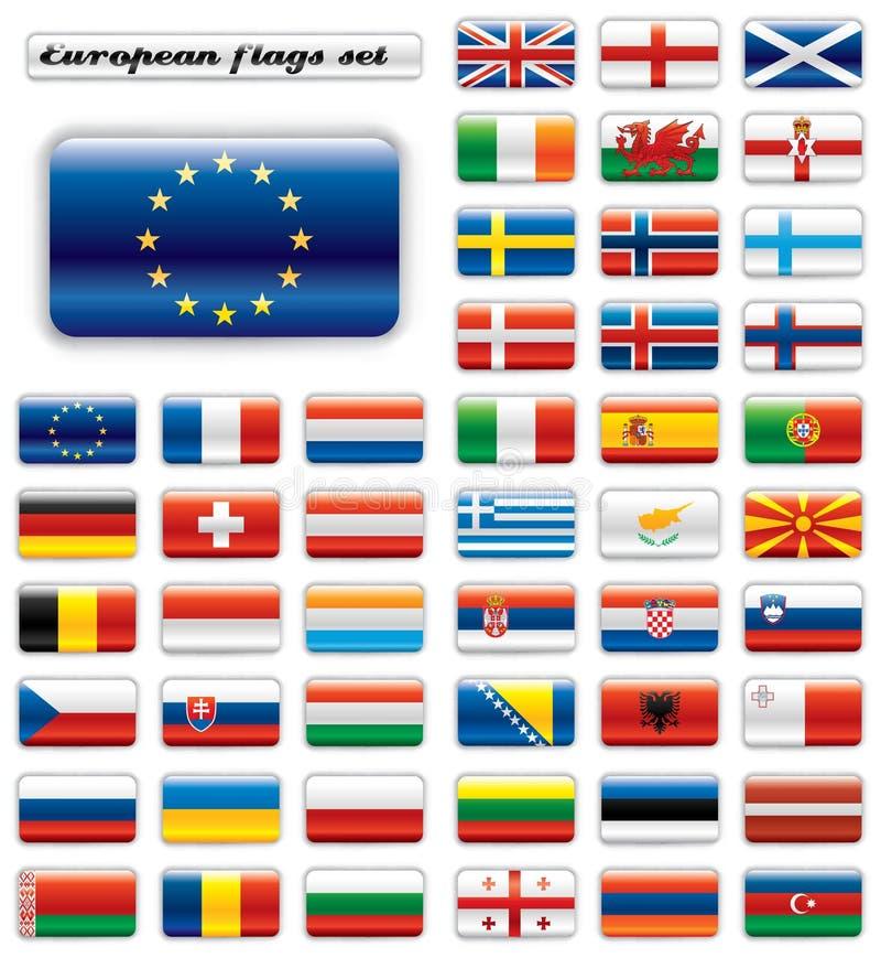 button Europa extra flaggor glansiga royaltyfri illustrationer
