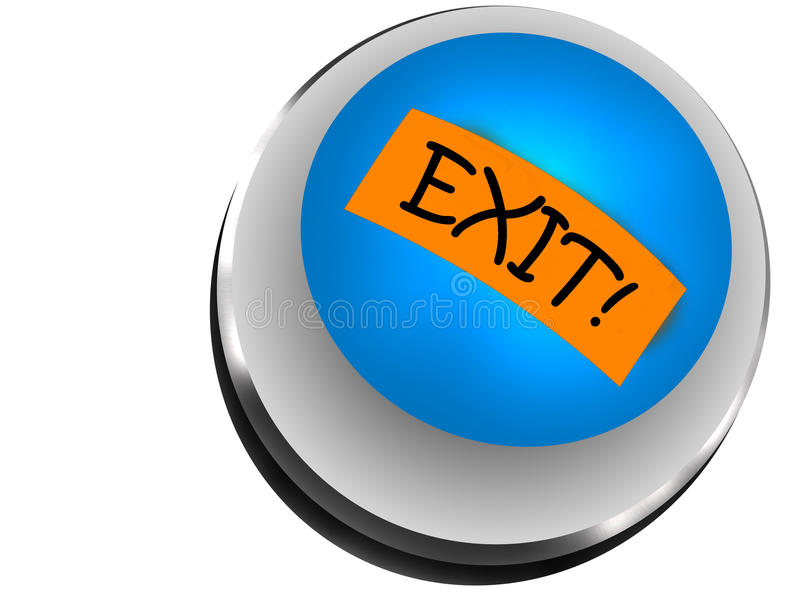 Button exit. Image vectorial representative a button with the gone out writing royalty free illustration