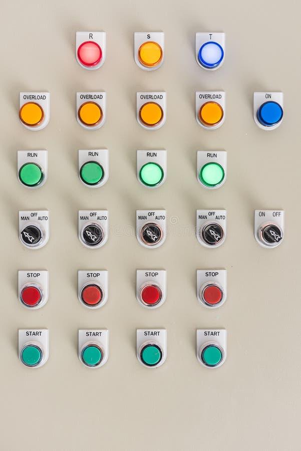 Button on fire control. Panel stock photos