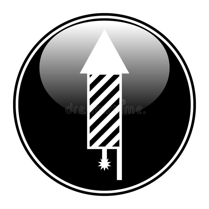Button with fireworks rocket icon. Button with fireworks rocket icon on white background. Vector illustration royalty free illustration
