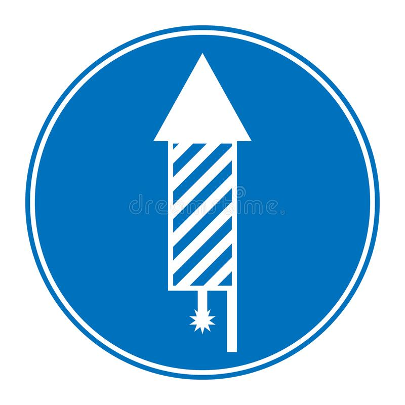 Button with fireworks rocket icon. Button with fireworks rocket icon on white background. Vector illustration stock illustration
