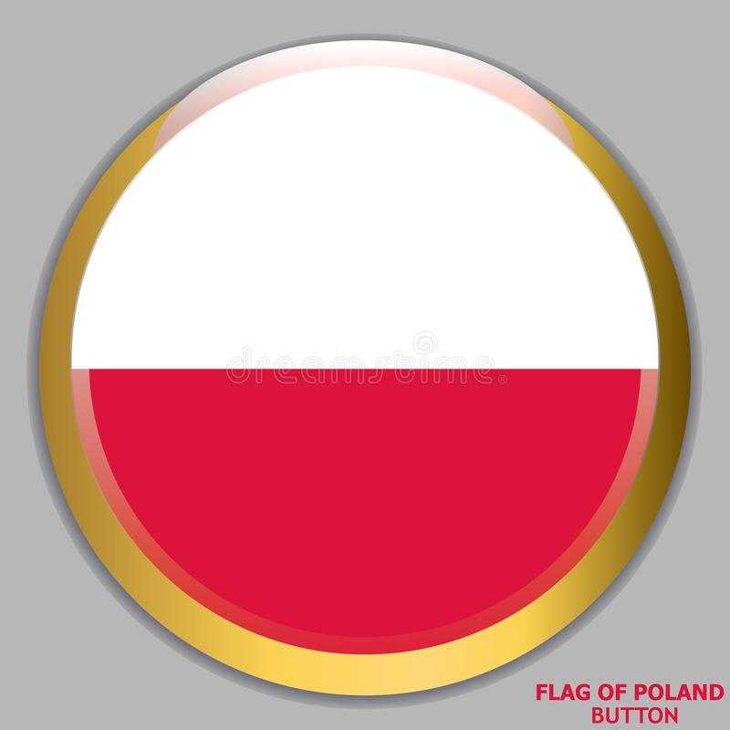 Button with flag of Poland. stock illustration