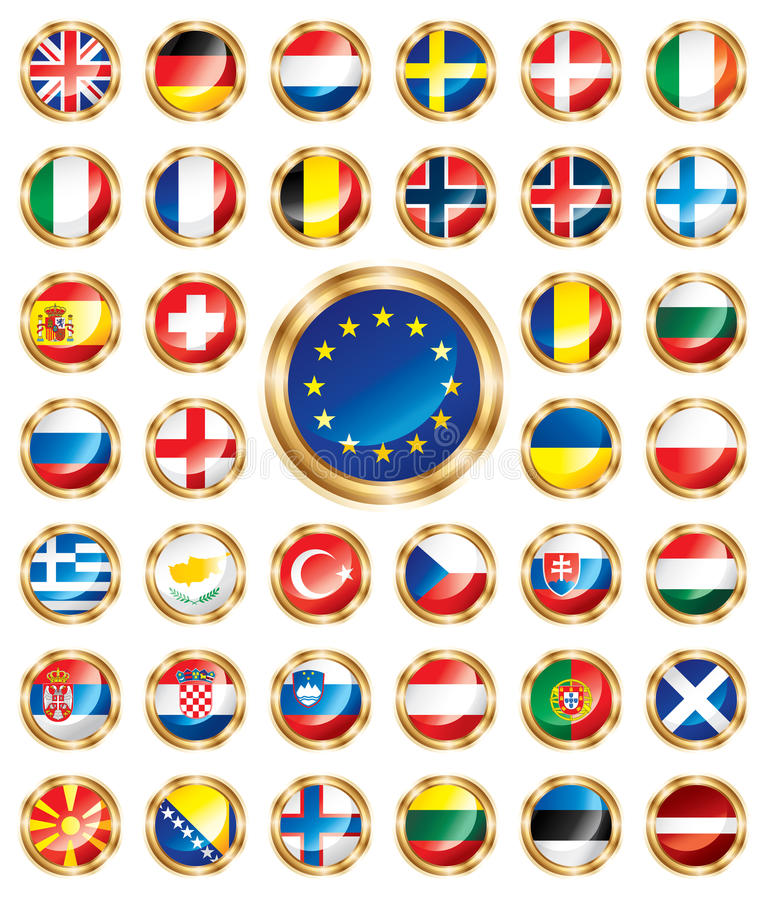 Free Button Flags Set European Royalty Free Stock Images - 14628519