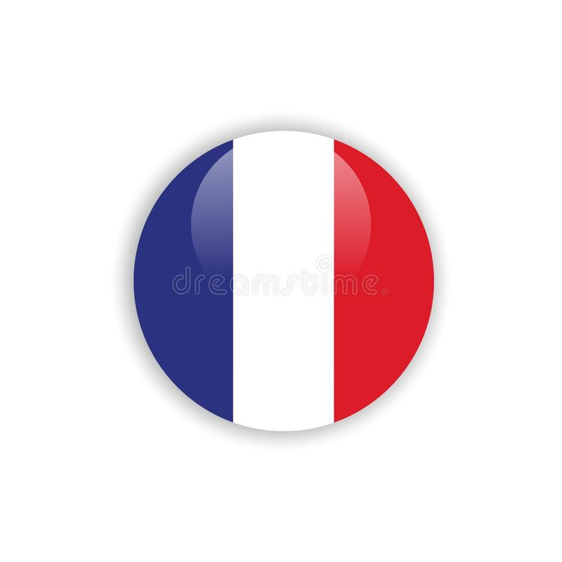 Button France Flag Vector Template Design stock illustration