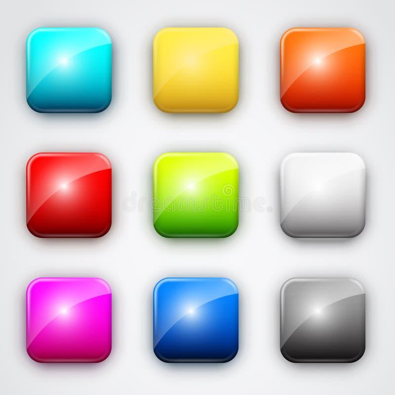 button fyrkanten royaltyfri illustrationer