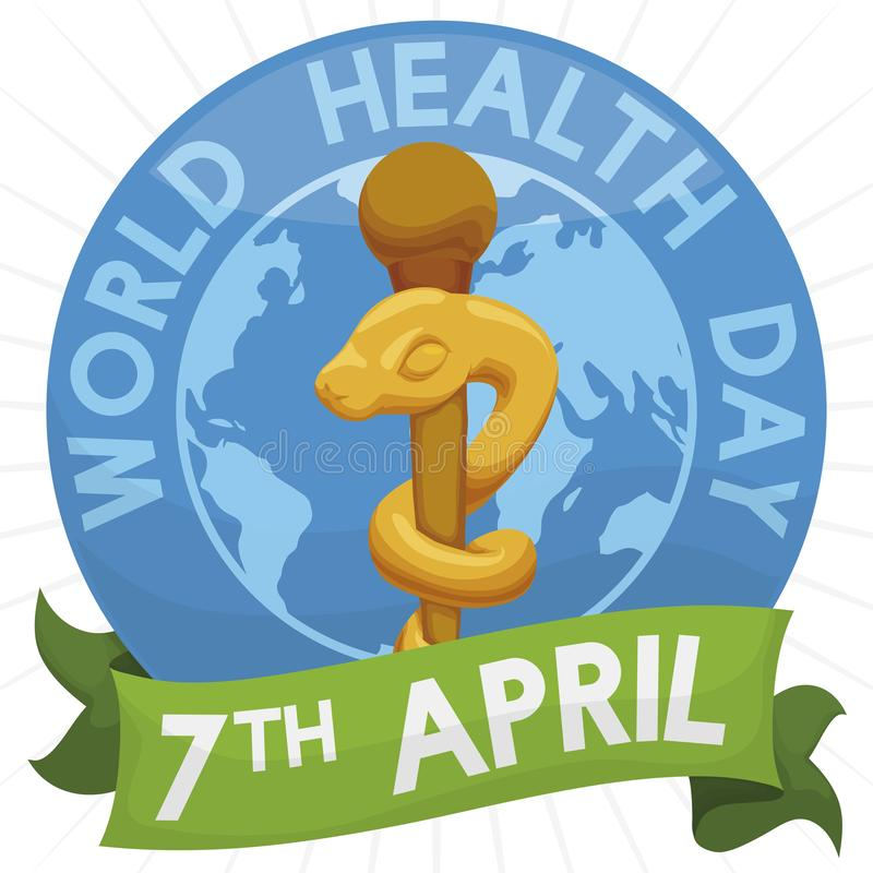 Button with Globe, Asclepius Rod and Ribbon for Health Day, Vector Illustration stock illustration