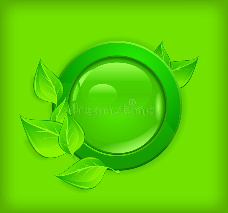 Button on green background