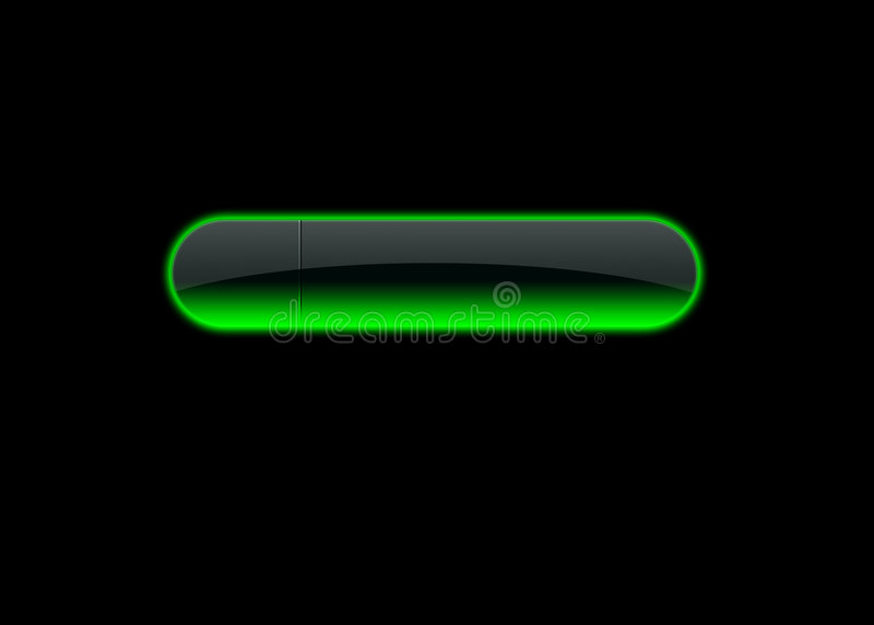 Button green neon. Neon green empty button, black background royalty free illustration
