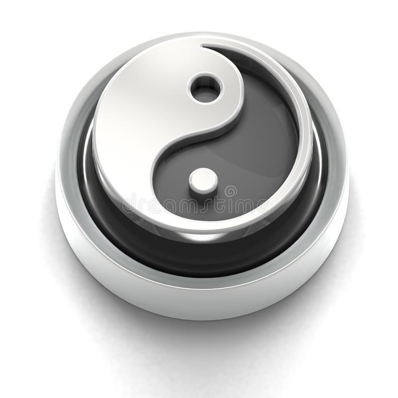 Button Icon: Yin Yang stock illustration