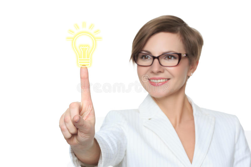 Button idea bulb business web icon. businesswoman royalty free stock image