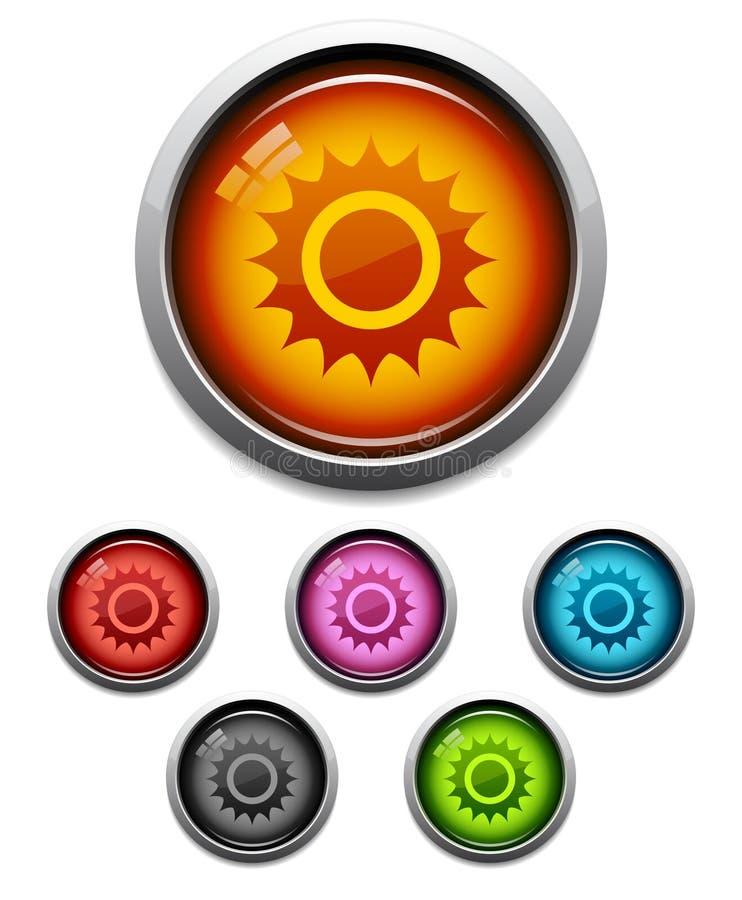 button ikony słońce royalty ilustracja