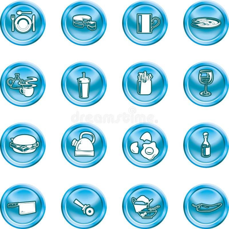 button ikony szereg żywności ustawienia ilustracji