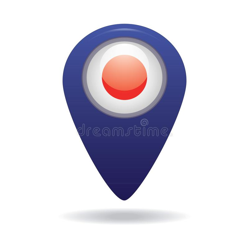 Button with the image of the flag of the Japan royalty free stock images