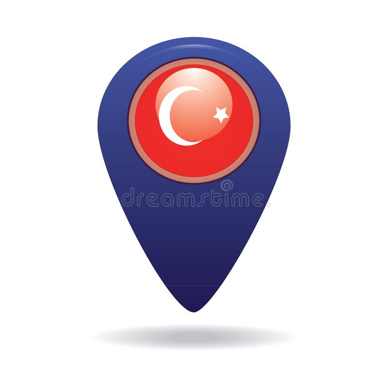 Button with the image of the flag of the Turkey stock images