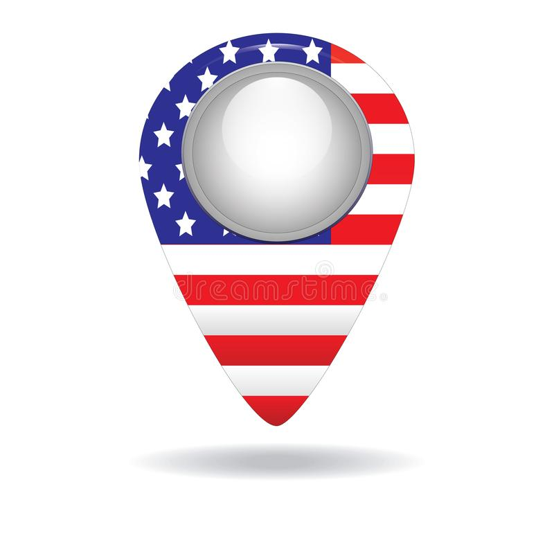 Button with the image of the flag of the USA royalty free stock images