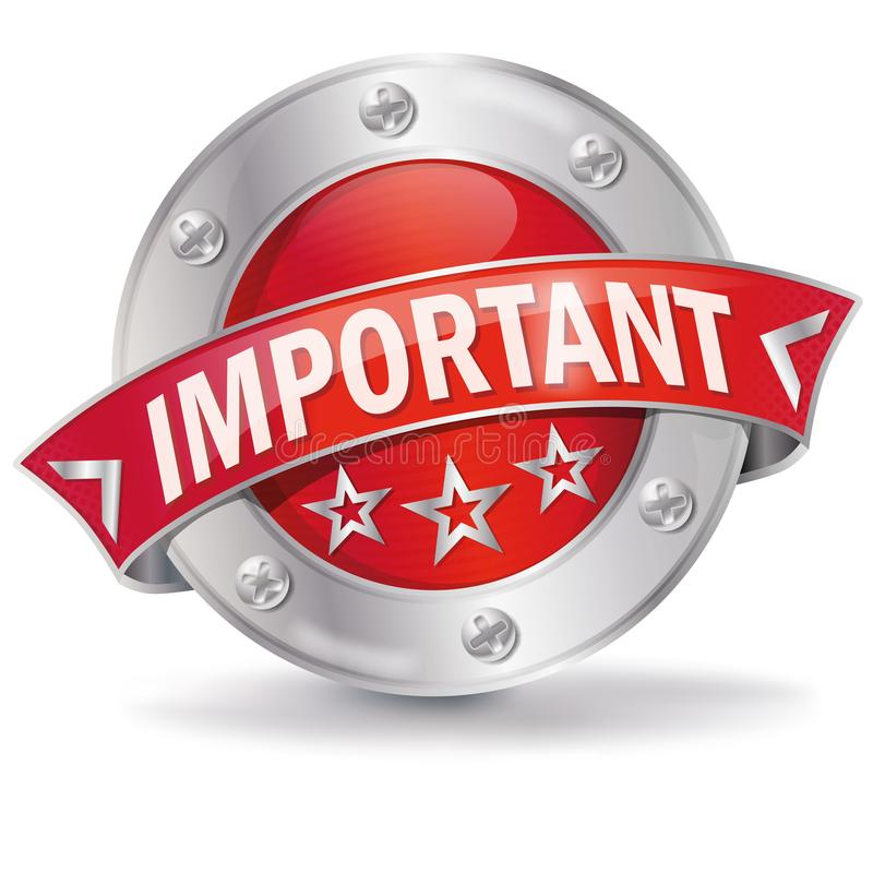 Button Important. And advertising message royalty free illustration